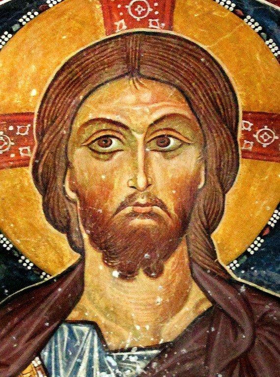 Христос Пантократор. Фреска церкви Панагии Форвиотиссы (Панагии Асину) близ Никитари на Кипре.