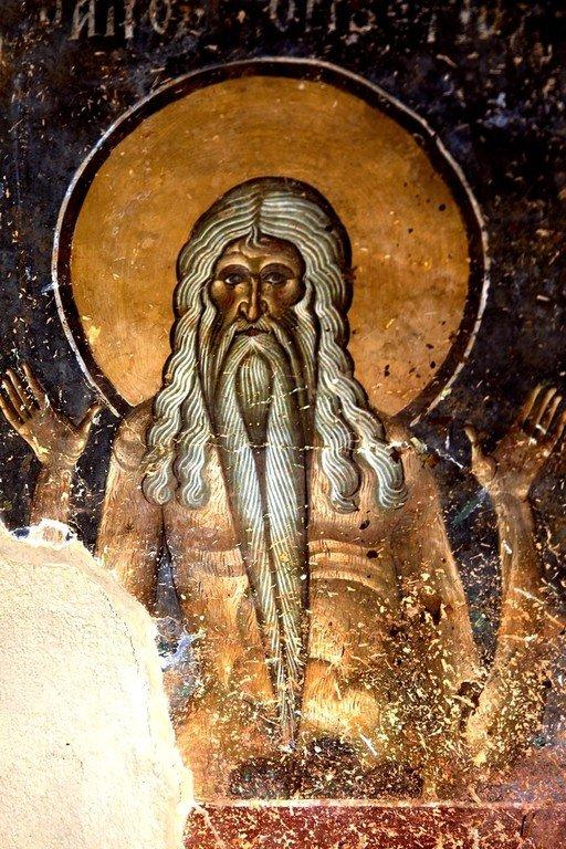 Святой Преподобный Онуфрий Великий. Фреска церкви Святого Георгия в Курбиново, Македония. 1191 год.