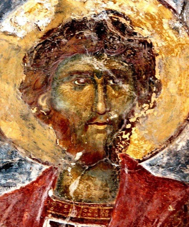 Лик Святого Воина. Византийская фреска в церкви Святых Феодоров в Мистре, Греция.