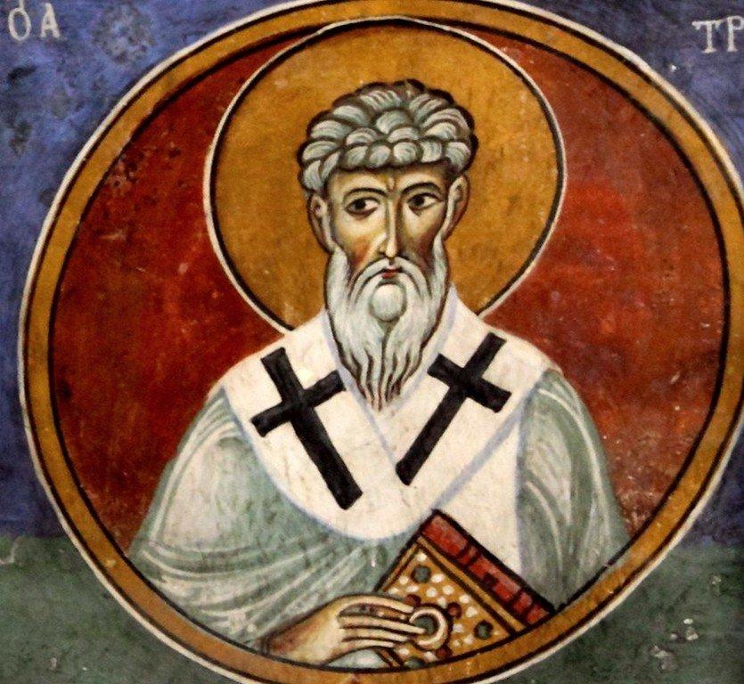 Святитель Трифиллий, Епископ Левкусии Кипрской. Фреска церкви Панагии Аракиотиссы в деревне Лагудера на Кипре. 1192 год.