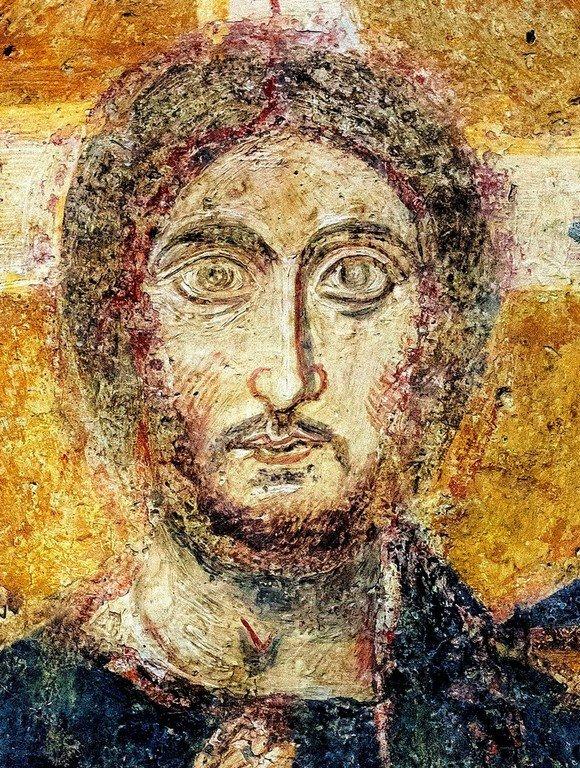 Христос Пантократор. Византийская фреска VII века в церкви Санта-Мария-Антиква в Риме. Лик Спасителя.