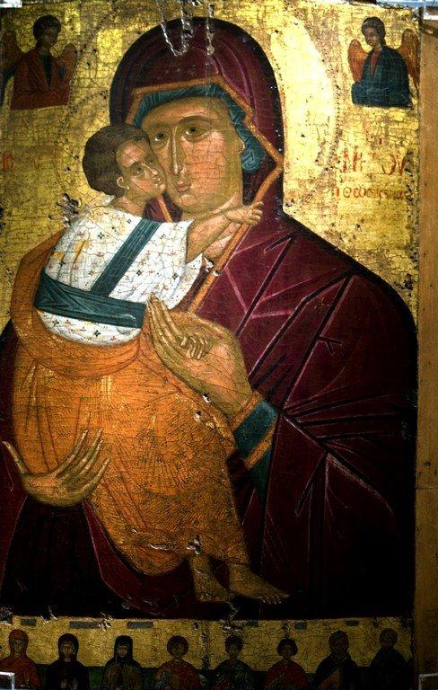 Богоматерь Елеуса (Феоскепасти). Византийская икона. Византийский музей в Афинах.