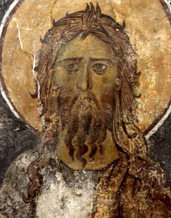 Святой Иоанн Предтеча. Византийская фреска в церкви Панагии Ангелоктисти в Кити на Кипре.