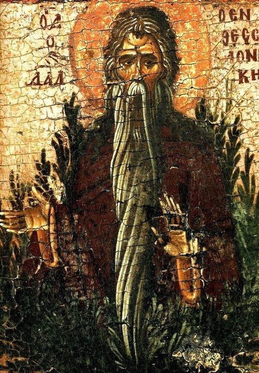Святой Преподобный Давид Солунский. Фрагмент византийской иконы XV века. Монастырь Ватопед на Афоне.