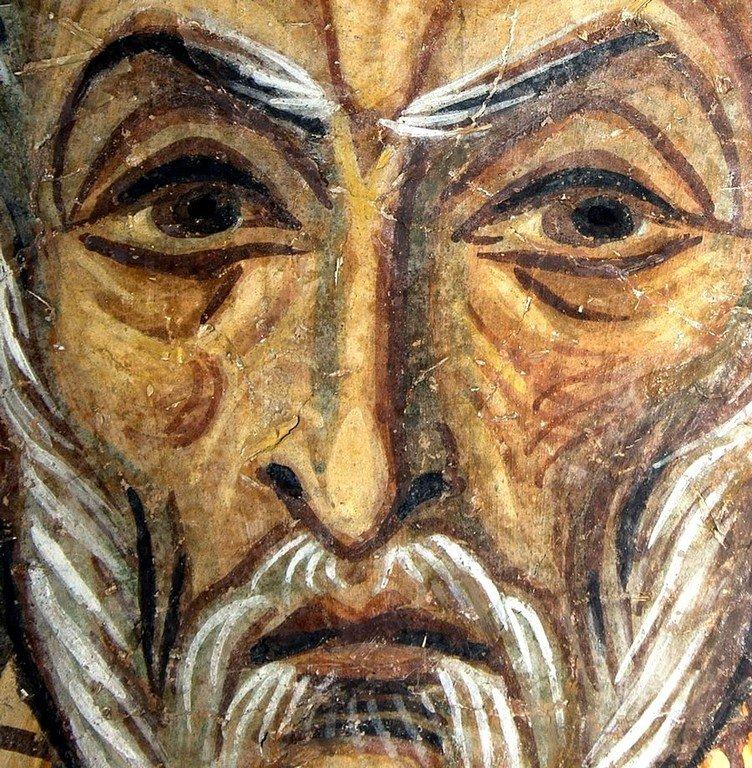 Святой Преподобный Сампсон Странноприимец. Фреска церкви Святого Пантелеимона в Нерези близ Скопье, Македония. 1164 год.