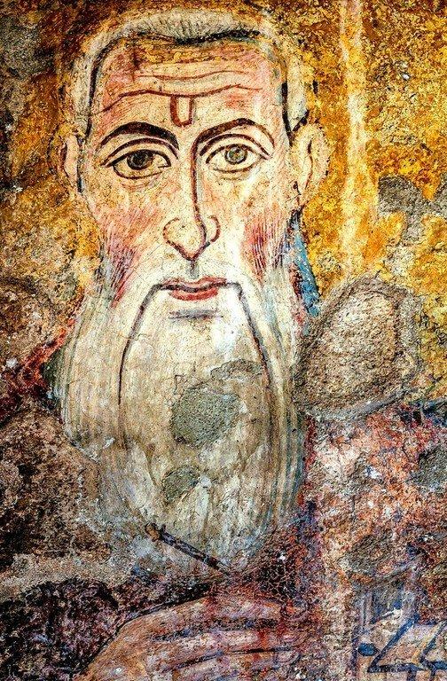 Святой Мученик, Бессребреник и Чудотворец Кир. Византийская фреска VII века в церкви Санта-Мария-Антиква в Риме.