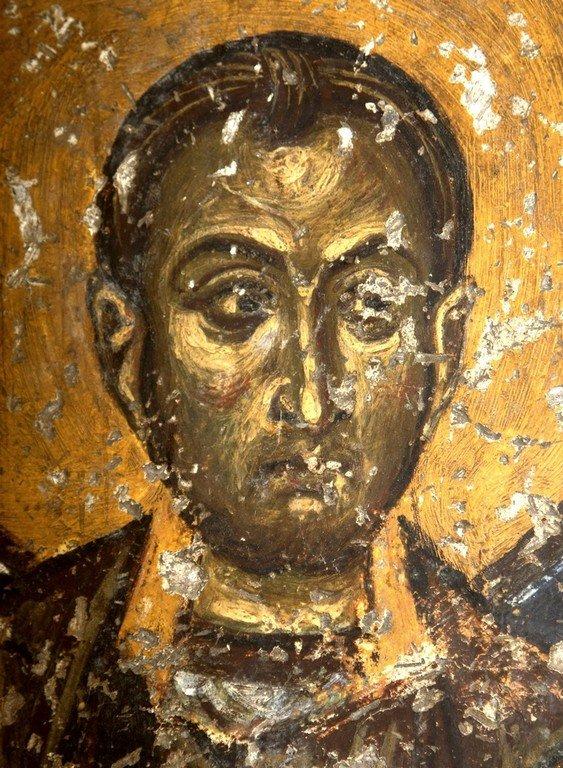 Святой Бессребреник Косма (?). Фреска церкви Святого Николая Каснициса в Кастории, Греция. Конец XII века.