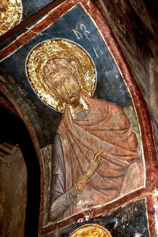 Святой Бессребреник Косма. Византийская фреска в церкви Святых Архангелов в Кастории, Греция.