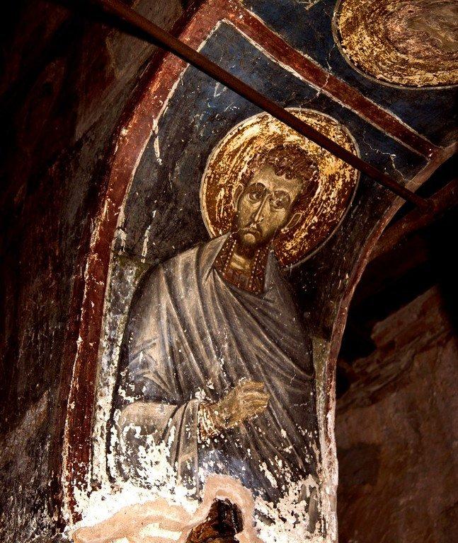 Святой Бессребреник Дамиан. Византийская фреска в церкви Святых Архангелов в Кастории, Греция.