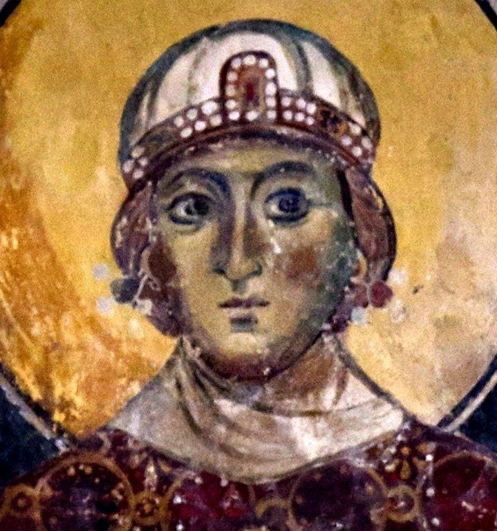 Святая Мученица Кириакия Никомидийская. Византийская фреска в церкви Старая Митрополия в Верии, Греция.