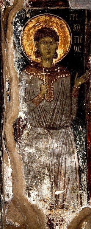 Святой Великомученик Прокопий. Византийская фреска в церкви Святых Архангелов в Кастории, Греция.
