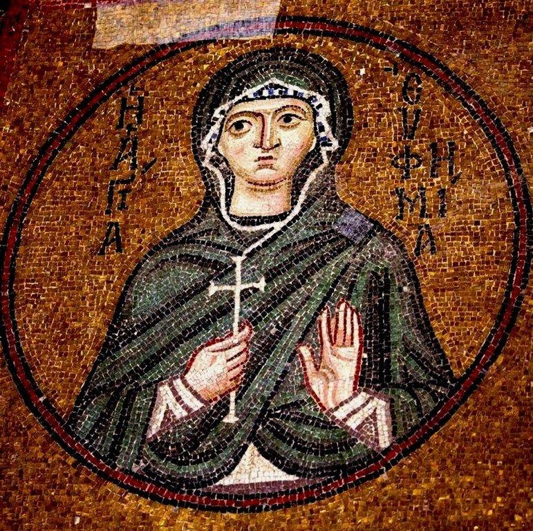 Святая Великомученица Евфимия Всехвальная. Мозаика монастыря Осиос Лукас, Греция. 1030 - 1040-е годы.