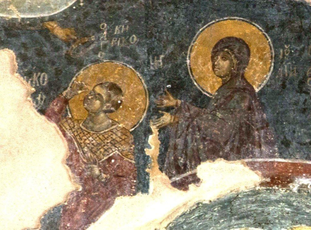 Святые Мученики Кирик и Иулитта. Византийская фреска в церкви Старая Митрополия в Верии, Греция.