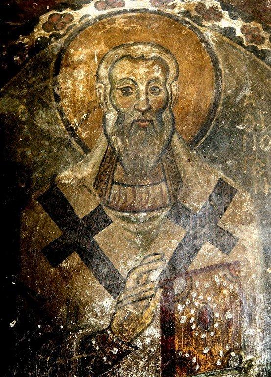Священномученик Афиноген, Епископ Пидахфойский, Севастийский. Фреска церкви Святых Врачей в Кастории, Греция. Конец XII века.