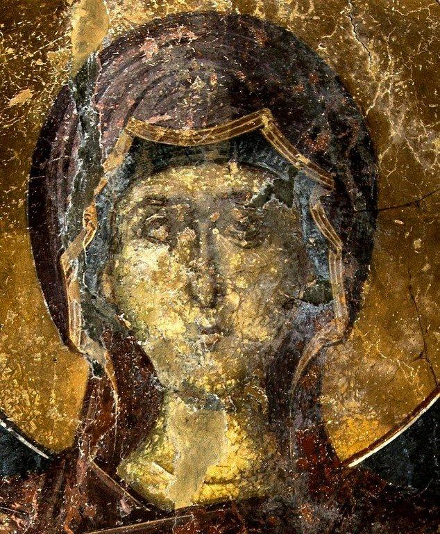 Богоматерь Оранта. Фреска церкви Святого Афанасия ту Музаки в Кастории, Греция. 1383 - 1384 годы. Фрагмент.