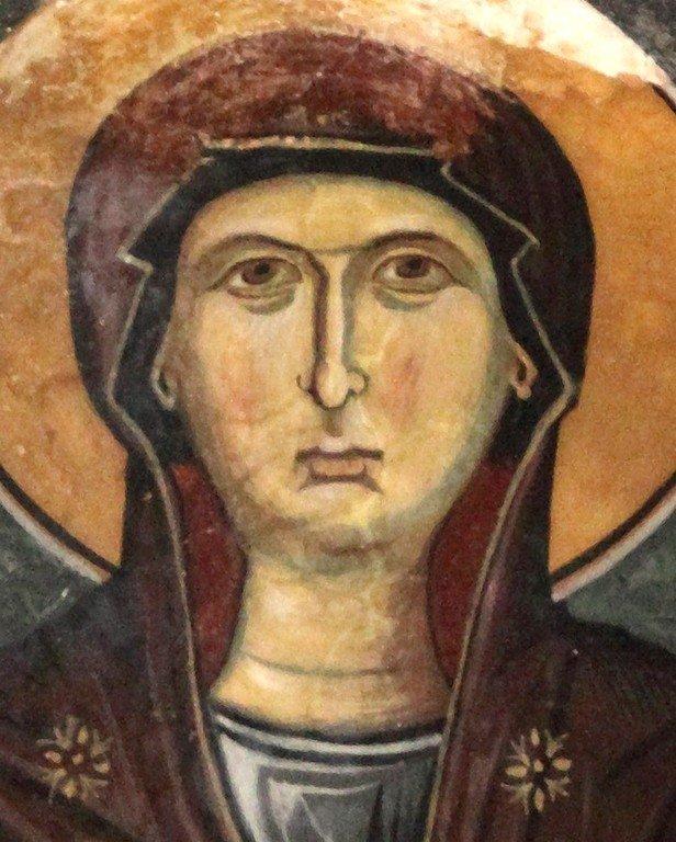 Богоматерь Оранта. Фреска монастыря Святого Иоанна Лампадиста на Кипре. Около 1400 года. Фрагмент.
