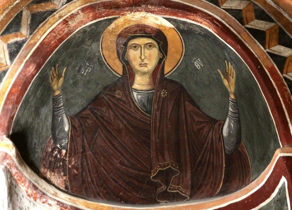 Богоматерь Оранта. Фреска монастыря Святого Иоанна Лампадиста на Кипре. Около 1400 года.