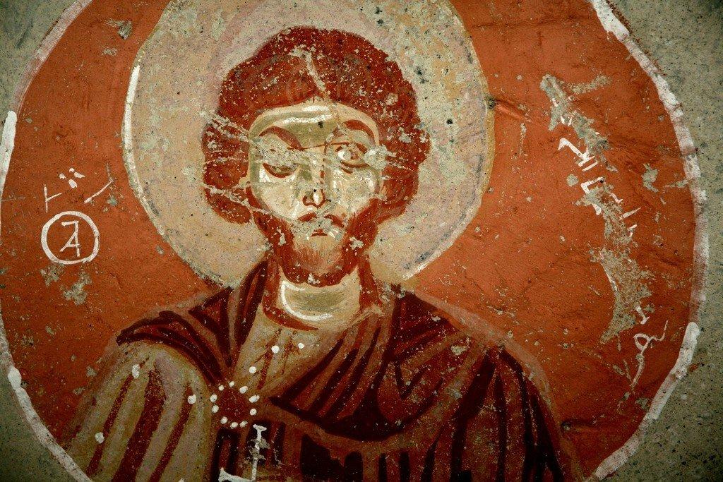 Святой Мученик Евгений. Византийская фреска. Каппадокия.