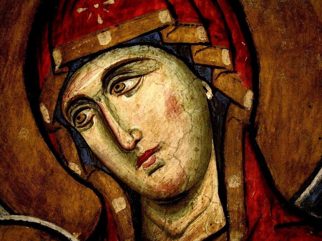 Богоматерь Аракиотисса. Фреска церкви Панагии Аракиотиссы в деревне Лагудера на Кипре. 1192 год. Фрагмент.