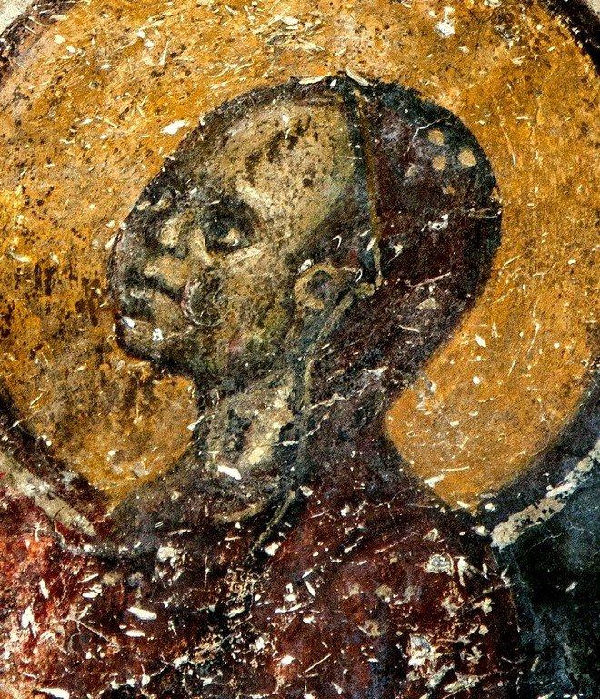 Святая Праведная Анна, матерь Пресвятой Богородицы. Фреска церкви Святых Врачей в Кастории, Греция. Конец XII века. Фрагмент.