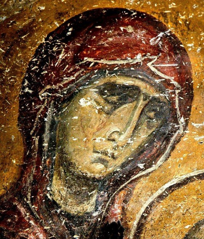 Святая Праведная Анна, матерь Пресвятой Богородицы. Фреска церкви Святых Врачей в Кастории, Греция. Конец XII века.