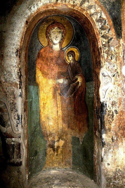 Святая Праведная Анна, матерь Пресвятой Богородицы. Византийская фреска в церкви Святого Стефана в Кастории, Греция.