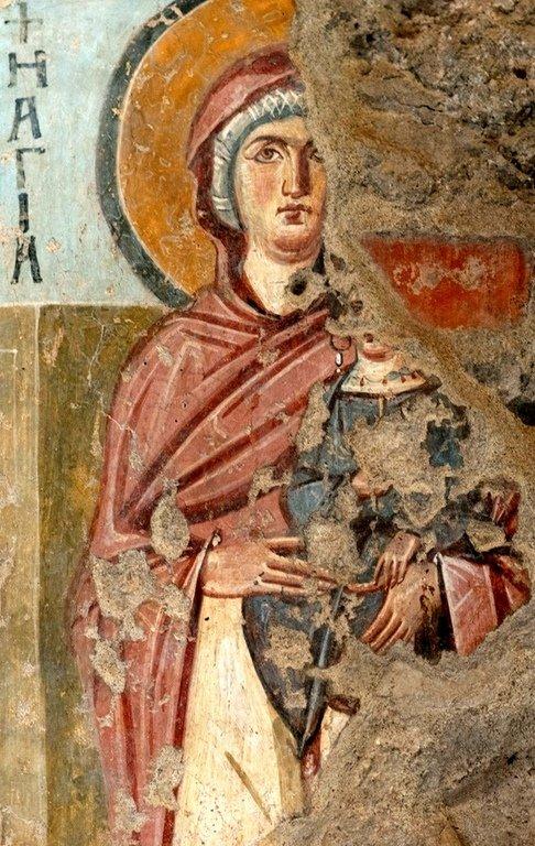 Святая Праведная Анна, матерь Пресвятой Богородицы. Византийская фреска в церкви Санта-Мария-Антиква в Риме. 705 - 707 годы.
