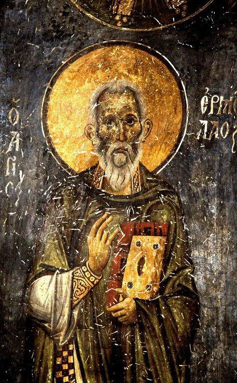 Священномученик Ермолай, иерей Никомидийский. Фреска церкви Святых Врачей в Кастории, Греция. Конец XII века.