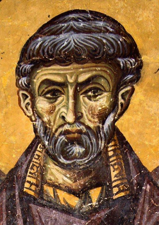 Священномученик Ермолай, иерей Никомидийский. Фреска церкви Святого Пантелеимона в Нерези близ Скопье, Македония. 1164 год.