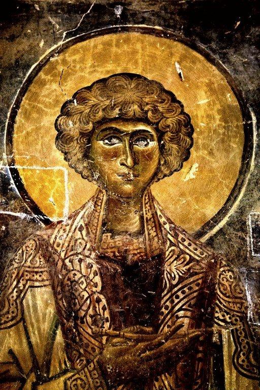 Святой Великомученик и Целитель Пантелеимон. Фреска церкви Святого Георгия в Курбиново, Македония. 1191 год.