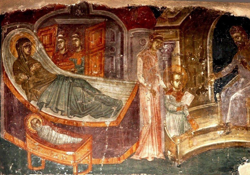 Рождество Святителя Николая Чудотворца, Архиепископа Мир Ликийских. Фреска церкви Святого Николая Орфаноса в Салониках, Греция. 1310 - 1315 годы.