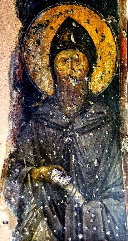 Преподобный. Фреска церкви Святых Апостолов (Двенадцати Апостолов) в Салониках, Греция. XIV век.
