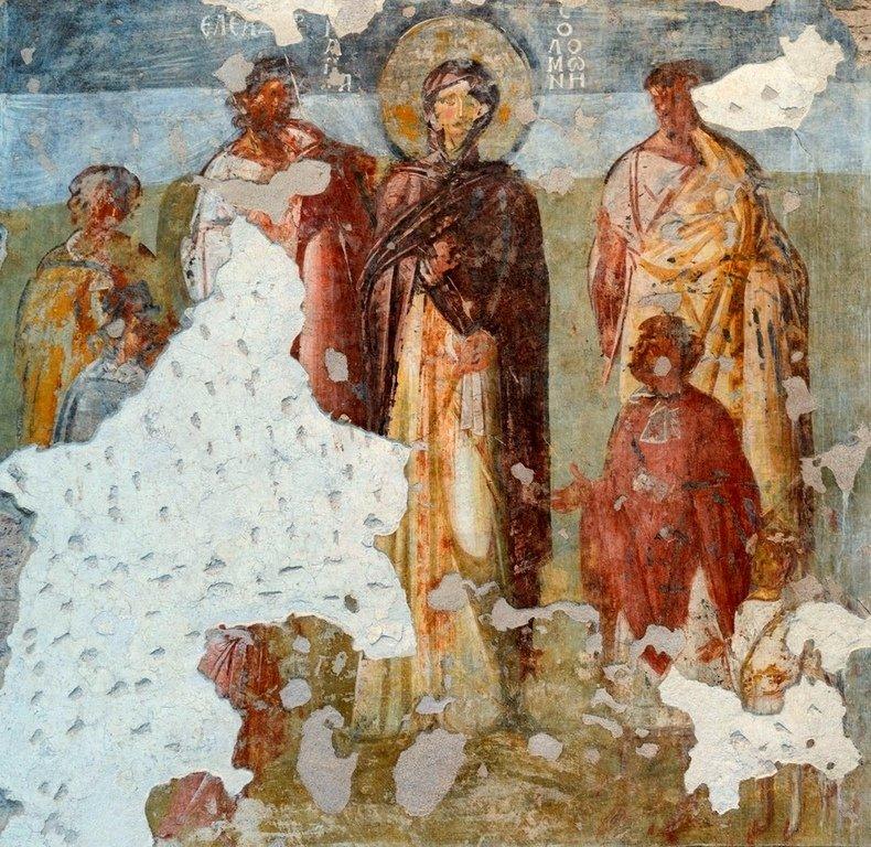 Святые Мученики Маккавеи, матерь их Соломония и учитель их Елеазар. Византийская фреска в церкви Санта-Мария-Антиква в Риме. Первая половина VII века.