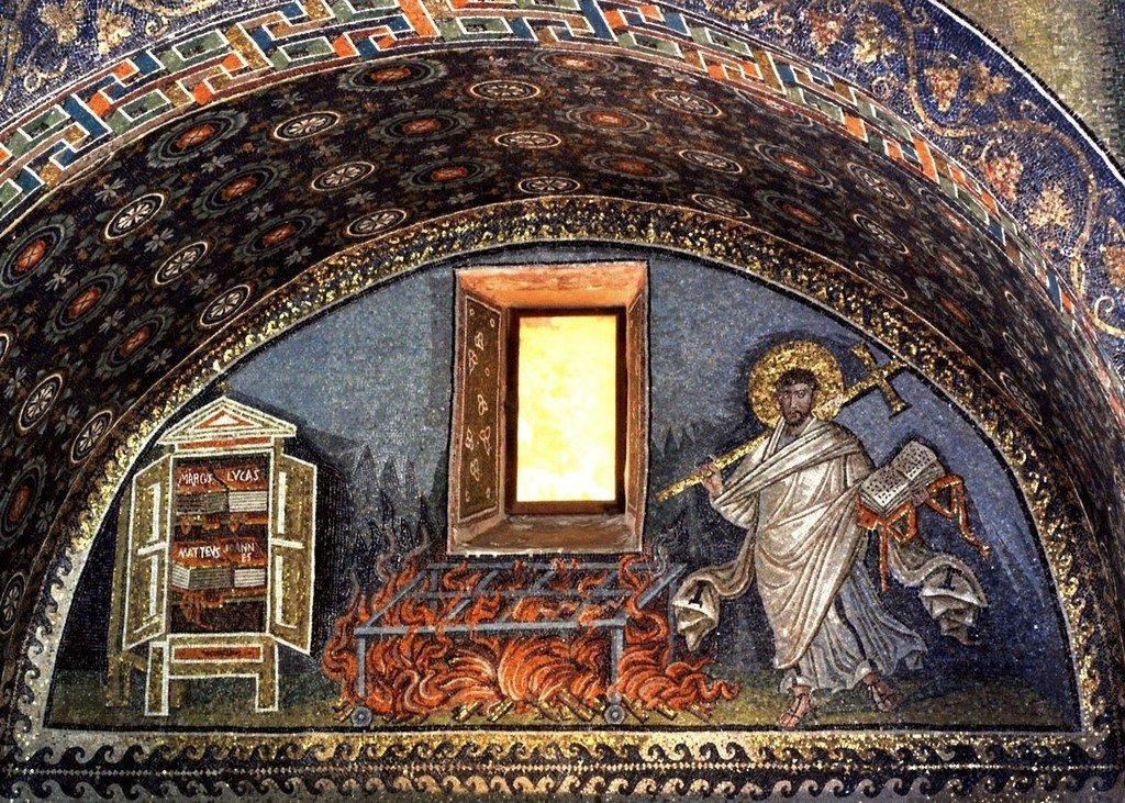 Святой Мученик Лаврентий, Архидиакон Римский. Мозаика мавзолея Галлы Плацидии в Равенне. V век.