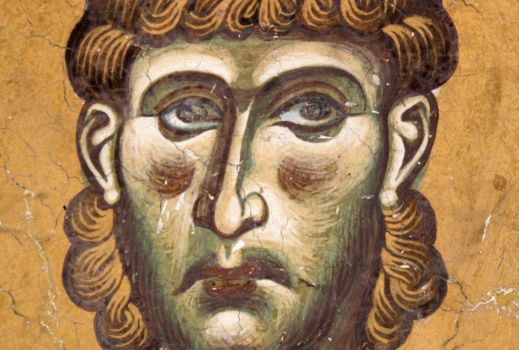 Святой Мученик Архидиакон Евпл. Фреска церкви Святого Георгия в Курбиново, Македония. 1191 год.
