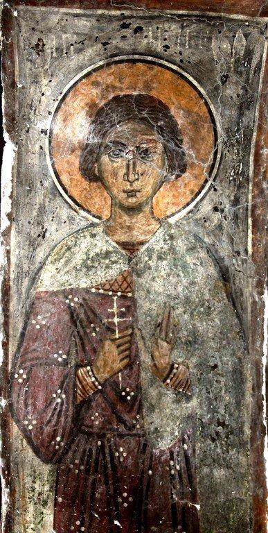 Святой Мученик Аникита Никомидийский. Фреска церкви Панагии Ангелоктисти в деревне Кити, Кипр.