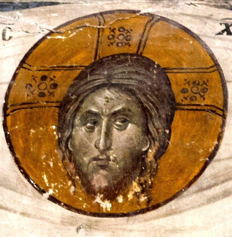 Спас Нерукотворный. Фреска церкви Святого Николая Орфаноса в Салониках, Греция. 1310 - 1315 годы.
