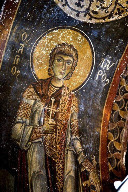 Святой Мученик Лавр Иллирийский. Фреска церкви Святых Врачей в Кастории, Греция. Конец XII века.