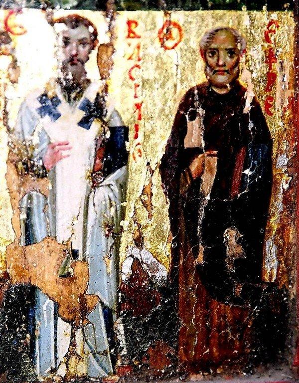 Святой Апостол Фаддей, царь Авгарь с Нерукотворенным Образом Спасителя, избранные Святые. Византийская икона X века. Монастырь Святой Екатерины на Синае. Фрагмент. Святитель Василий Великий и Преподобный Ефрем Сирин.