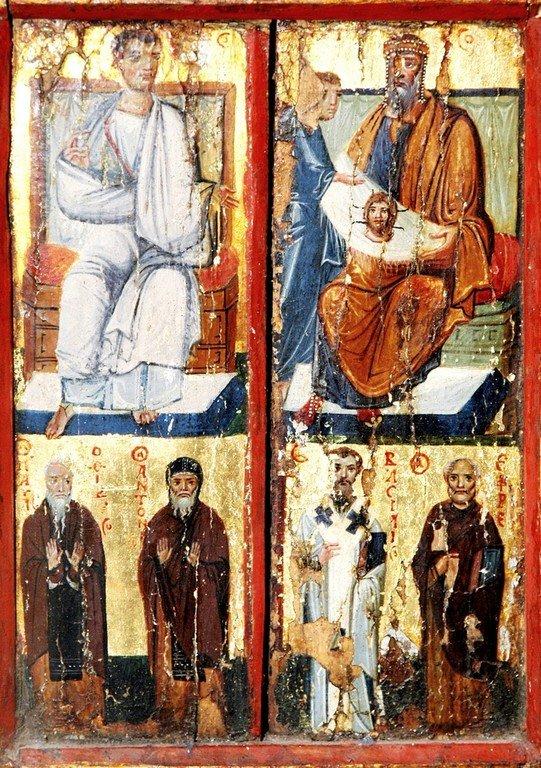 Святой Апостол Фаддей, царь Авгарь с Нерукотворенным Образом Спасителя, избранные Святые. Византийская икона X века. Монастырь Святой Екатерины на Синае.