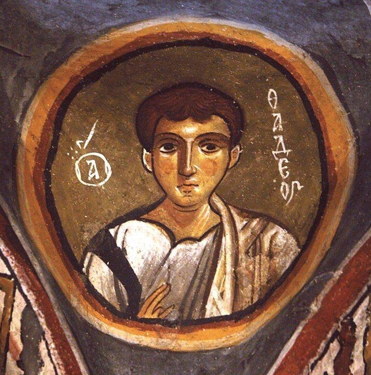 Святой Апостол от Семидесяти Фаддей. Фреска церкви Каранлык килисе, Каппадокия. Конец XII - начало XIII веков.