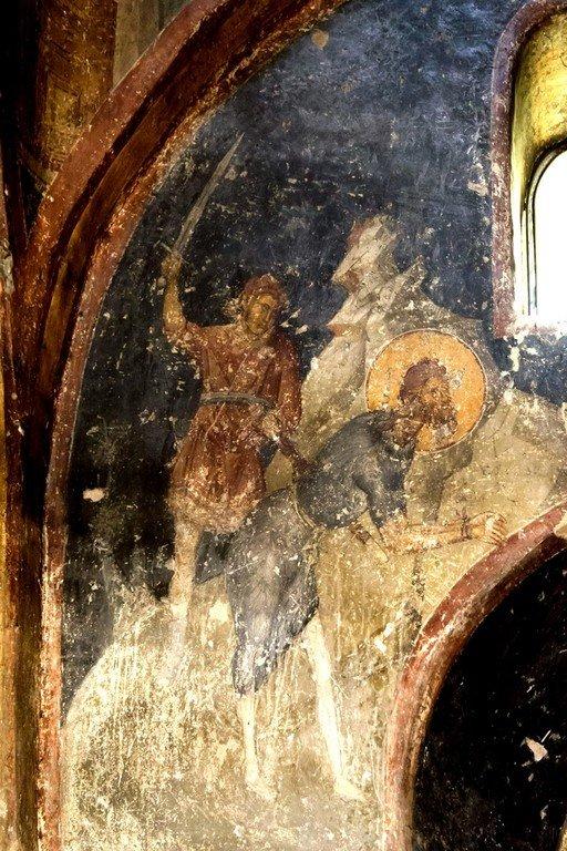 Усекновение главы Святого Иоанна Предтечи. Фреска церкви Святых Апостолов (Двенадцати Апостолов) в Салониках, Греция. XIV век.