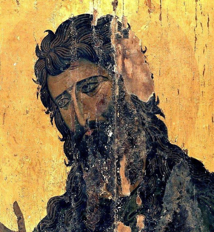 Святой Иоанн Предтеча. Византийская икона в монастыре Святой Екатерины на Синае. Фрагмент.