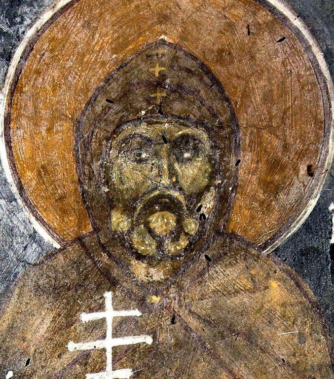 Святой Преподобный Симеон Столпник Старший. Фреска исихастириона Панагии Елеусы на озере Преспа, Греция. 1409 - 1410 годы.