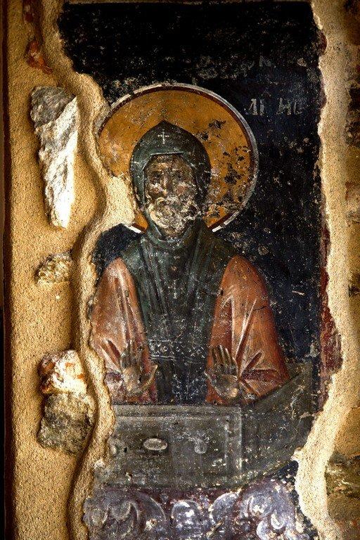 Святой Преподобный Симеон Столпник Старший. Фреска церкви Святой Екатерины в Салониках, Греция. XIV век.