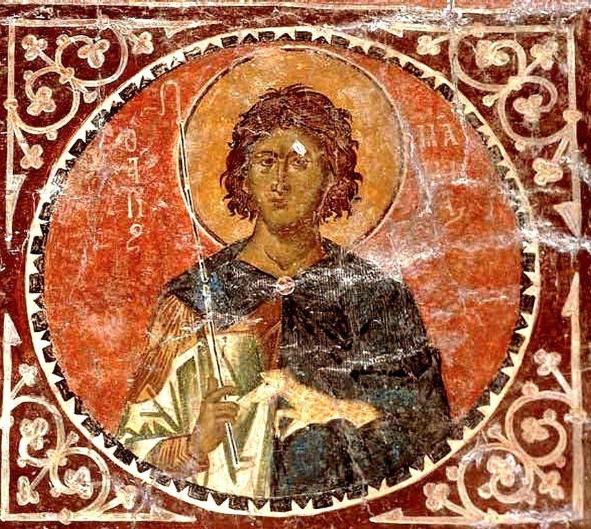 Святой Мученик Мамант Кесарийский. Византийская фреска. Мистра, Греция.