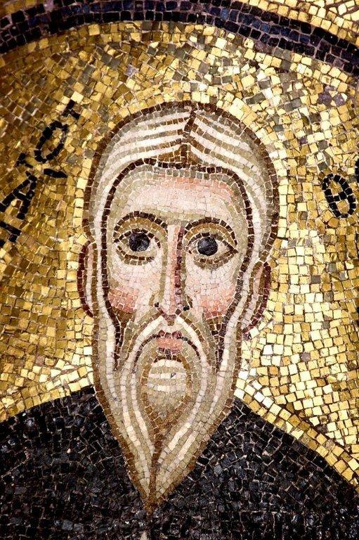Святой Преподобный Феоктист Палестинский, спостник Преподобного Евфимия Великого. Мозаика монастыря Осиос Лукас, Греция. 1030 - 1040-е годы.