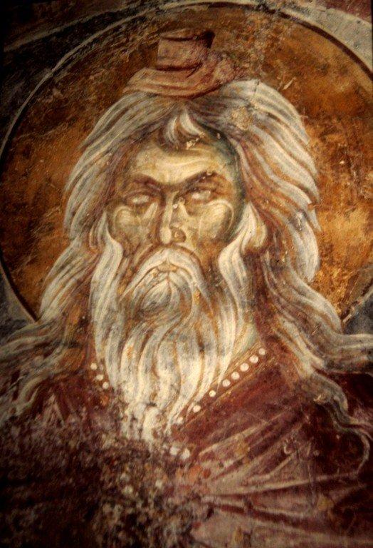 Святой Пророк Захария, отец Святого Иоанна Предтечи. Фреска монастыря Вронтохион в Мистре, Греция. XIV век.
