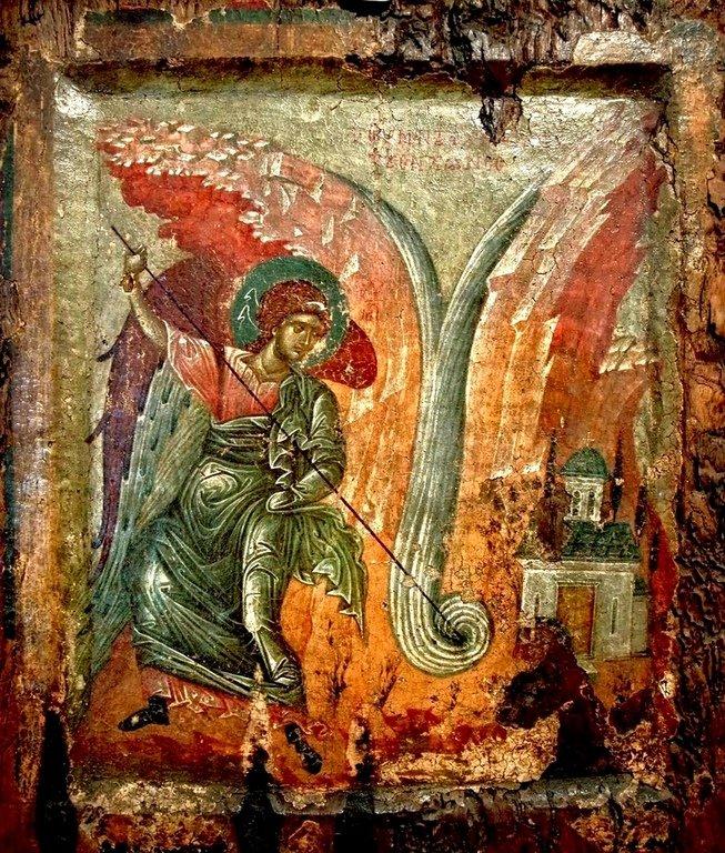 Чудо Архистратига Михаила в Хонех. Византийская икона XIV века.