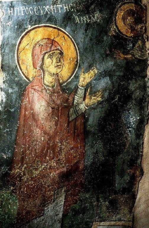 Благовестие Святой Праведной Анне. Фреска церкви Панагии Феотокос в Трикомо, Кипр. XII век.